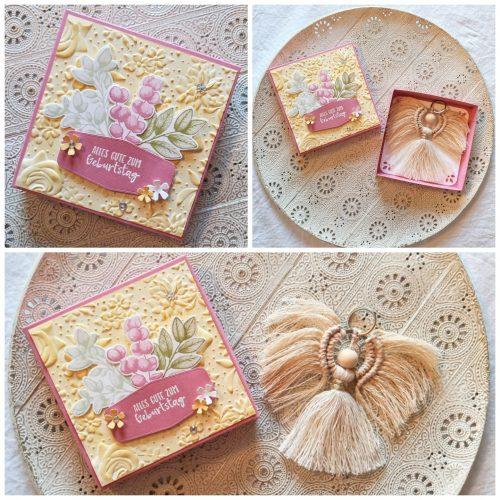 Geschenkbox von Sophya_kreativ mit Makramee-Engel